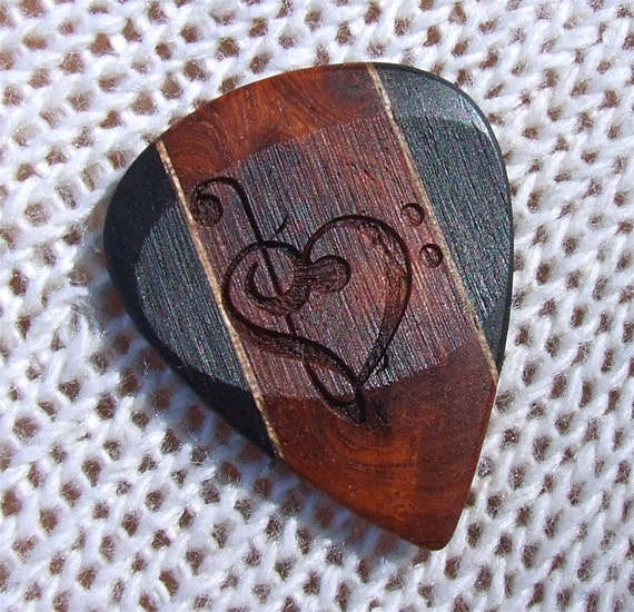 Treble and Bass Clef Heart - Handmade Laser Engraved Exotic Woods Premium Guitar Pick