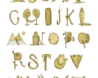 Wild West Alphabet illustration, digital print, 8x10in.