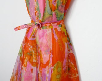 SALE Vintage french couture colorful chiffon dress