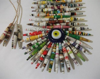 Paper Bead, Evil Eye Wall Hanging