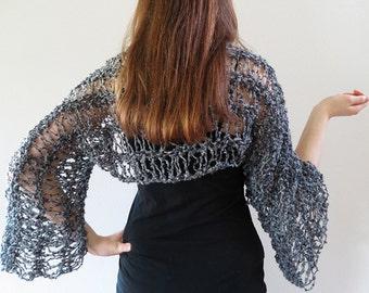 Elegant Gray Color Lacy Boucle Knitted Shoulder Shrug Bolero Long Sleeves