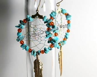 Turquoise and Amber Dream Catcher Earrings on Gold Plated Hoops Custom Made to Order