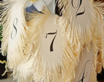 Wedding table numbers FEATHER's in ivory for flower arrangement