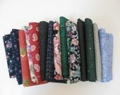 15 Fat Quarter Bundle Destash Blue Red Green Floral - Fabric - Quilting - Sewing Projects -