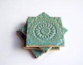 Aqua Lace Pottery Coasters, Turquoise, Set of 4, Ceramic, Pottery -- Wedding, Shower, Birthday Gift