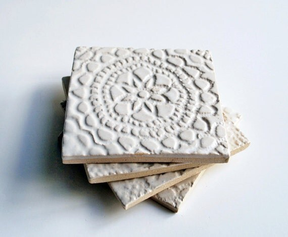 White Lace Coasters Ceramic Pottery Set Of 4 Handmade