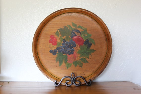Wood Tole Tray - Hand Painted with Fruit Design - Nice Cottage or Farmhouse Addition