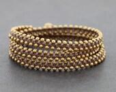Taupe Stud Brass Wrap Bracelet