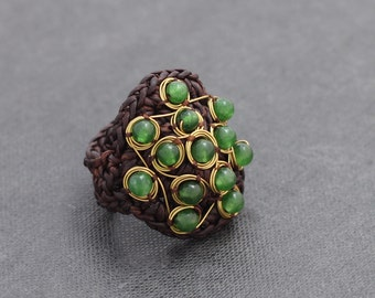 Jade Wire Wrap Cocktail Ring