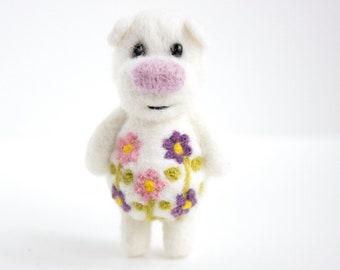 Little white flower pocket bear with green
