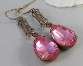 SALE Pink Velvet,Earring,Vintage Earrings,Pink Rhinestone,Diamond Earrings,Rhinestone,Diamond,Earrings. Valleygirldesigns.