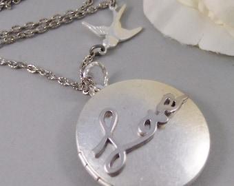 Love Bird Locket,Locket,Silver Locket,Bird,Sparrow,Wing,Heart,Love,Antique Locket,Rhodium. Handmade jewelry by valleygirldesigns.