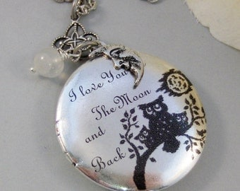 Mother's Moon,Locket,Silver Locket,Owl,Mom,Baby,Family,Antique Locket,Woodland,Love You,Art Locket. Handmade jewelry by valleygirldesigns.