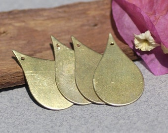 Bronze Pointed Teardrop Blank 24mm x 15mm 24g with Hole Shape for Stamping Texturing Soldering Blanks Polished - 6 pieces