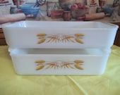 Clearance...Vintage Casserole Baking Dishes, (2) Fire King, Golden Wheat