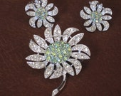 Vintage Rhinestone Brooch and Earrings Set - Mountain Flower by Sarah Coventry
