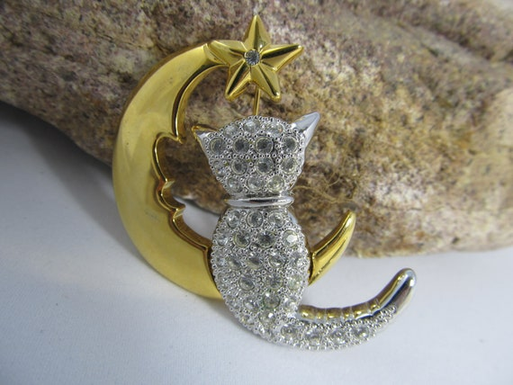 Vintage Kitty on the Moon Rhinestone and Gold and Silver tone Metal Brooch