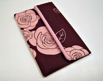 Fold Over Clutch in Brown and Pink Roses