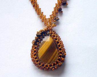 Gold and brown tiger eye pendant