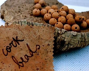 Cork beads, 50 pcs 12mm, for organic jewelry, spheres for eco-friendly earrings, necklaces, bracelets, keyrings & more DIY crafts, fishing