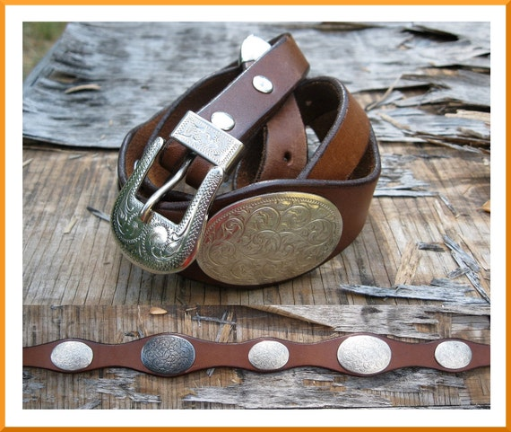 "Vintage Brown Leather Silver Concho Belt Sz. 27"" - 31"""