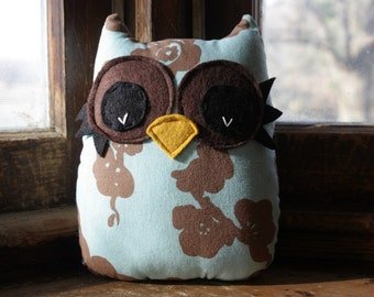owl pillow, stuffed owl plush, owl decor, owl toy