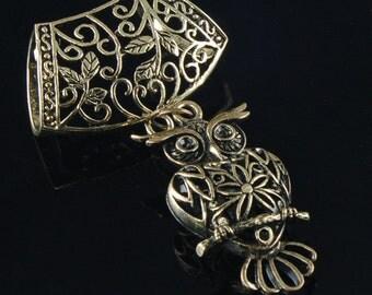 Scarf Pendant - Bronze Owl Scarf Jewelry