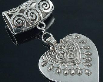 Scarf Pendant - Silver Tibetan Heart Scarf Jewelry