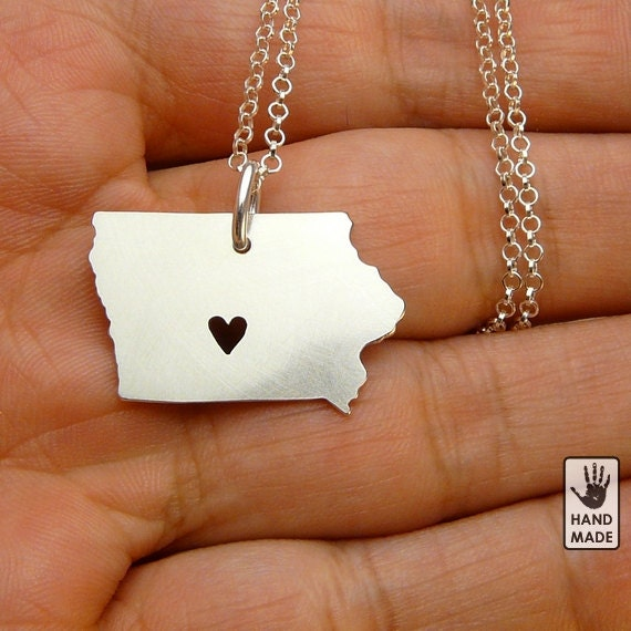 IOWA State Map Handmade Personalized Sterling Silver .925 Necklace in a gift box