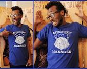 REDESIGNED -- Mischief shirt.  Unisex/Men American Apparel sizes small, medium, large, XL, or 2XL. Flaunt your fandom.