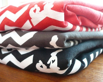 Screenprinted T-shirt, Red Chevron Retro Look, Women's Tee