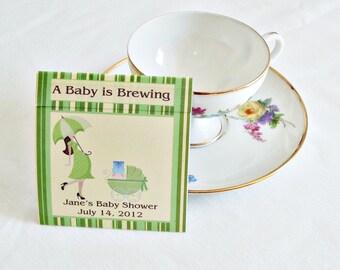 Baby Shower Teabag Favors- Mod Mom Green- Set of 25