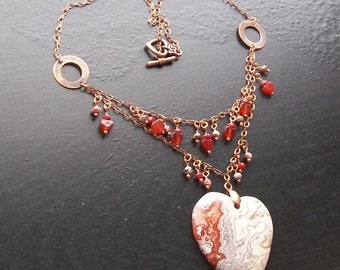 Mexican Lace Agate Gemstone Heart Necklace with Carnelian-Copper Lace-Burnt Sienna, Dark Orange, Cream, Gray, Dark Orange on Copper