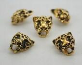 5 pcs. Zinc Gold Tiger Head Leopard Rivets Studs Leather Craft Decoration Findings 14x16 mm. G1416 5 RV DH