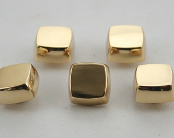 10 pcs. Gold Flat Head Square Screwback Studs Leathercraft Decorations Findings 11x7 mm. BS G 0805 SCB 87
