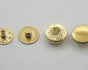 60 sets Gold Metal Snap Buttons Fasteners Rapid Rivet Stud Decor Fashion Buttons Diy Crafts Leather Craft Supplies Sizes 10 mm. VT2 G K