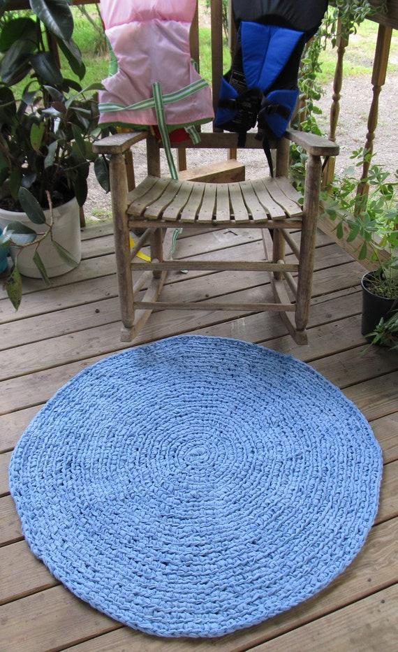 SALE OOAK Upcycled crochet Flannel Rug. cornflower Blue. 3 foot Round Rug