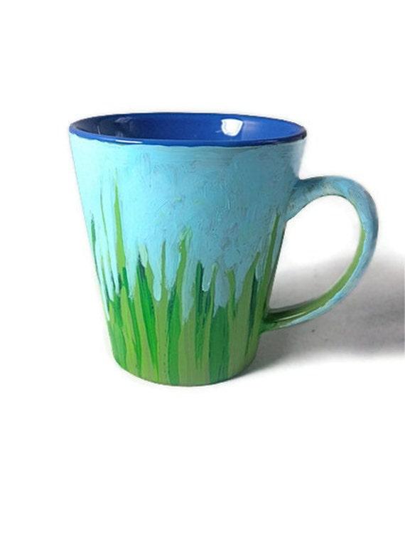 Grass is Greener Hand Painted Coffee Cup Mug