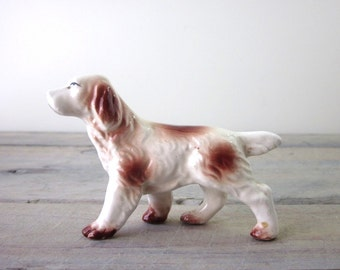 Brown and White Porcelain Dog Figurine