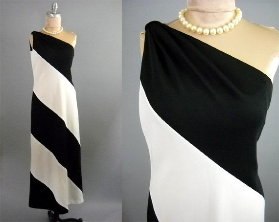Vintage 1960's 1970's...Rare One Shoulder...Black and White Striped Op Art...60s 70s Mod Glam Cocktail Party Dress