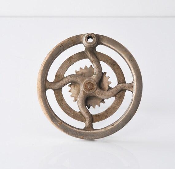 Vintage Industrial Machine Wheel Gear & Shaft Nickel Plated Brass Metal