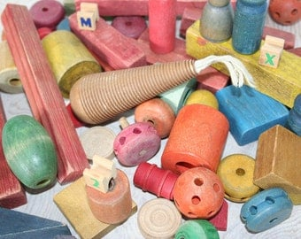 Lot of vintage wooden toy blocks. Over 70 pieces, colorful, assemblage, crafts, letters, numbers.