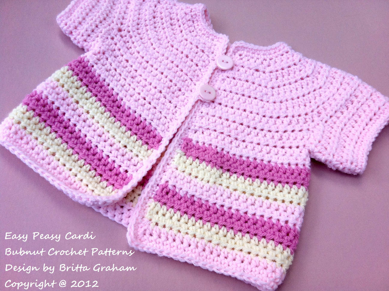 Simple Crochet Baby Cardigan Pattern Free : Easy Peasy Baby Sweater Cardigan Crochet Pattern No.907