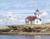 Patos Island Lighthouse, Puget Sound, WA color photograph