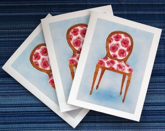 rose chair blank art cards set of three watercolor