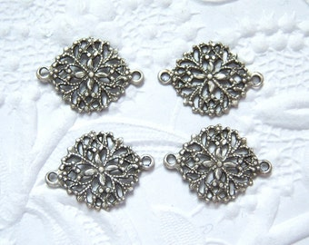 4 -Antique silver plated round  filigree 2 ring connectors - SJ168