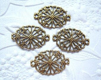 Antique brass filigree connector lot of (4) -  TR150