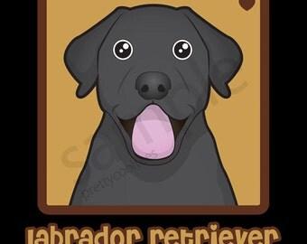 Labrador Retriever (Black Lab) Cartoon Heart T-Shirt Tee - Men's, Women's Ladies, Short, Long Sleeve, Youth Kids