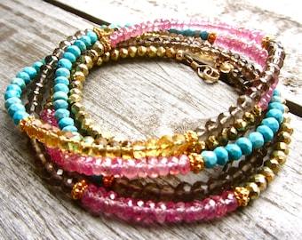 Multi Wrap Gemstone Bracelet with Turquoise, Citrine, Pink Sapphire, and Smokey Quartz
