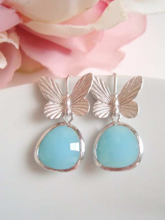 White Gold Boho - Blue Jade Czech Glass - Butterfly Earrings